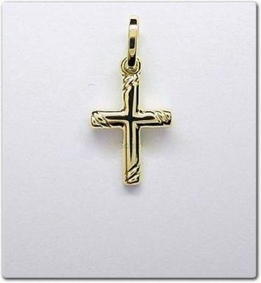 333 Gold Damen, Kinder, Herren Kreuzanhänger Anhänger Kreuz, diamantiert,20mm – Bild 2