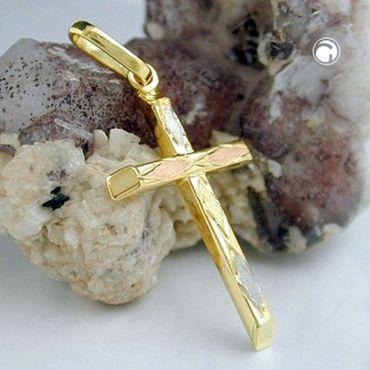 ASS 375 Gold  Anhänger Kreuz Kreuzanhänger, Tricolor,Gelbgold,Weißgold,Rotgold – Bild 2