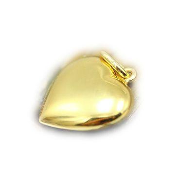 ASS 333 Gold Anhänger Kettenanhänger Herz vollplastisch, doppelseitig glanzpoliert 15mm Herzanhänger – Bild 1