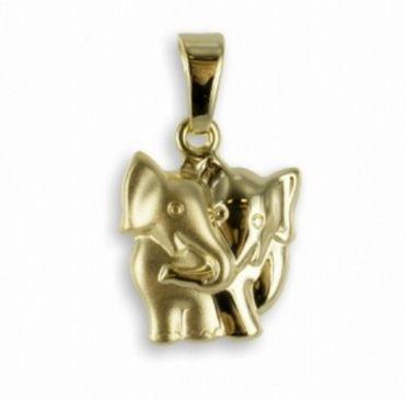ASS 333 Gold  Anhänger Elefant, Elefanten, teilmatt, Kettenanhänger, Glücksbringer