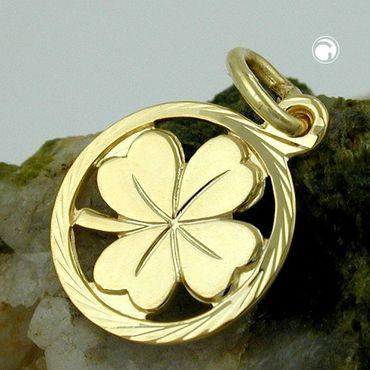 ASS 333 Gold Anhänger  Glücksbringer Kleeblatt ,diamantiert Gelbgold – Bild 2