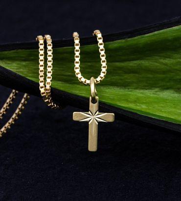 ASS 333 Gold winzig kleiner  Kreuzanhänger Anhänger Kreuz gesandelt,diamantiert – Bild 2