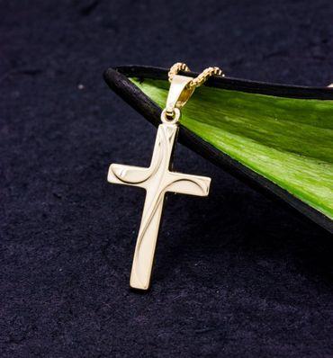 ASS 333 Gold  Kreuzanhänger Anhänger Kreuz,matt/glanz,21mm – Bild 6