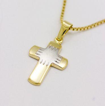 ASS 333 Gold  Kommunion Kinder Damen Kreuzanhänger Anhänger Kreuz Bicolor mit Kette – Bild 4