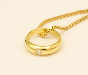 ASS 333 Gold Kinder Anhänger Taufring mit Zirkonia weis Patengeschenk – Bild 2
