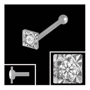ASS 750 Weissgold Nasepiersing Nasenstecker mit Kugelstift mit Diamant – Bild 2