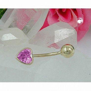 ASS 585 GOLD Bauchnabel-Piercing Banana Herz mit  Zirkonia rosa-pink und Kugel – Bild 2
