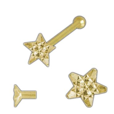 ASS 750 Gelbgold Nasepiersing Nasenstecker, Stern, diamantiert mit Kugel – Bild 1
