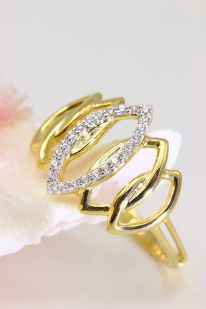 ASS 333 Gold Damen Marquise Ring mit 24 Zirkonia weiß Goldring,Gelbgold Gr.18 (56) – Bild 5