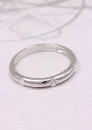 ASS 333 Gold Damen Memory Ring mit 3 Zirkonia weiß Goldring, Weißgold Gr.17 (54) Memoryring – Bild 4