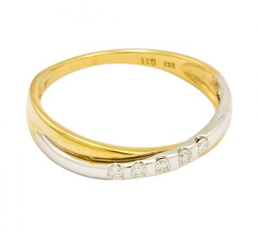 ASS 333 Gold Damen Ring mit 5 Diamanten(Brillanten), 0,11Ct Goldring,Weißgold und Gelbgold,Bicolor,Gr.17(54)