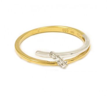ASS 333 Gold Damen Ring mit 4 Diamanten(Brillanten), 0,03Ct Goldring,Weißgold und Gelbgold,Bicolor,Gr.18(56) – Bild 1
