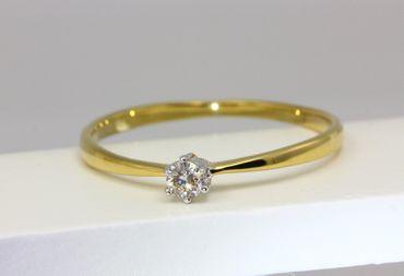 ASS 333 Gold Damen Solitär Ring mit 1 Diamant(Brillant), 0,10 Ct Goldring, Weiß-und Gelbgold,Bicolor,Gr.18(56) – Bild 2