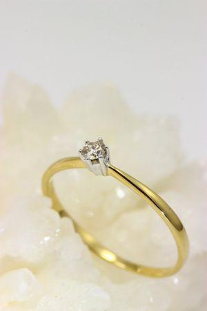 ASS 333 Gold Damen Solitär Ring mit 1 Diamant(Brillant), 0,10 Ct Goldring, Weiß-und Gelbgold,Bicolor,Gr.18(56) – Bild 7