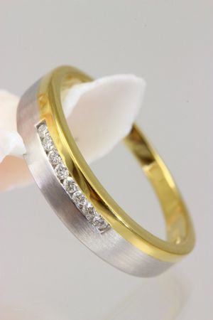 ASS 333 Gold Verlobungsring Ring mit 8 Diamanten (Brillanten) 0,1ct Bicolor Gr.19 (60) – Bild 3