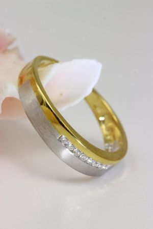 ASS 333 Gold Verlobungsring Ring mit 8 Diamanten (Brillanten) 0,1ct Bicolor Gr.19 (60) – Bild 1