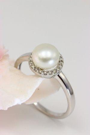 ASS 333 Gold Damen Ring mit 1 SWZP Perle und 20 Diamanten(Brillanten), 0,12Ct Goldring,Weißgold Gr17(54) – Bild 3