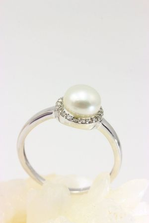 ASS 333 Gold Damen Ring mit 1 SWZP Perle und 20 Diamanten(Brillanten), 0,12Ct Goldring,Weißgold Gr17(54) – Bild 4