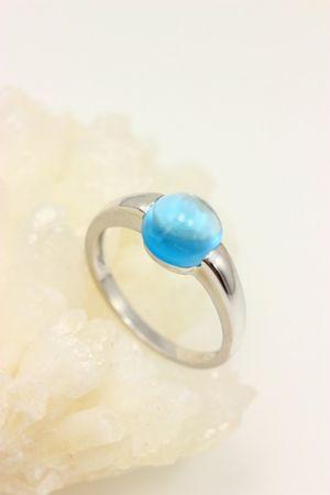 ASS 333 Gold Damen Ring Goldring mit Blautopas Blau Topas,Weißgold Gr.18(56) – Bild 4