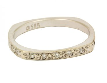 ASS 585 Gold Damen Memory Ring mit 9 Diamanten (Brillanten) 0,05ct weiß Goldring, Weißgold Gr.17 (53) Memoryring – Bild 1