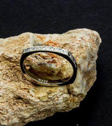 ASS 585 Gold Damen Memory Ring mit 9 Diamanten (Brillanten) 0,05ct weiß Goldring, Weißgold Gr.17 (53) Memoryring – Bild 5