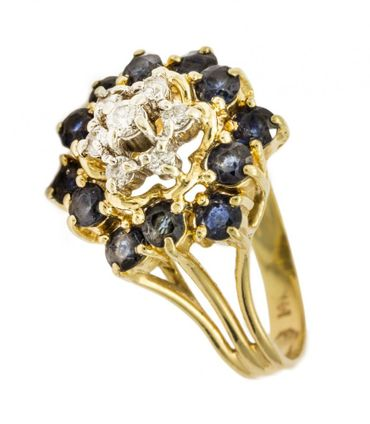 ASS 585 Gold Damen  Ring mit 7 Diamanten (Brillanten) 0,17ct und 12 blau Saphir, Gr.16 (50)  – Bild 1