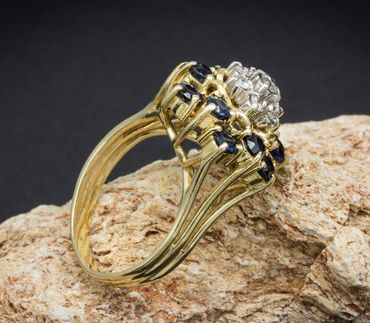 ASS 585 Gold Damen  Ring mit 7 Diamanten (Brillanten) 0,17ct und 12 blau Saphir, Gr.16 (50)  – Bild 5
