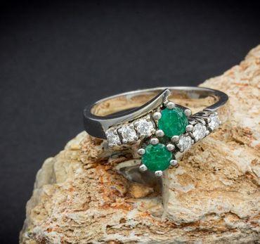 ASS 585 Gold Damen  Ring mit 6 Diamanten (Brillanten) 0,17ct und 2 grün Smaragd, Gr.17,5 (55)  – Bild 5