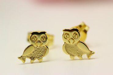 ASS 333 Gold Kinder Ohrstecker Ohrringe Stecker Eule gesandelt/glanz – Bild 2