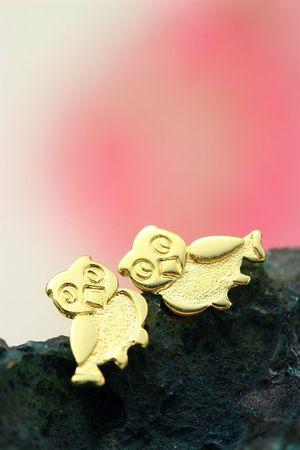 ASS 333 Gold Kinder Ohrstecker Ohrringe Stecker Eule gesandelt/glanz – Bild 4