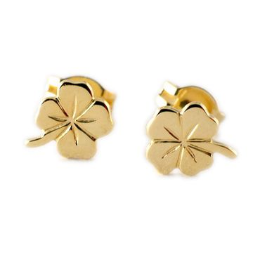 ASS 333 Gold Ohrringe Damen Kinder Ohrstecker Ohrringe Glücksbringer Kleeblatt – Bild 1