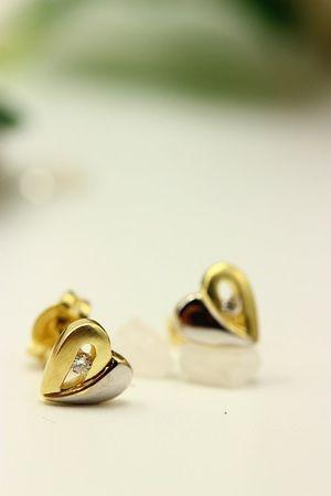 ASS 585 Gold Damen Ohrringe Ohrstecker Stecker Herz mit Diamant,Brillant 0,01ct P1 Gelbgold,Weißgold Bicolor – Bild 4