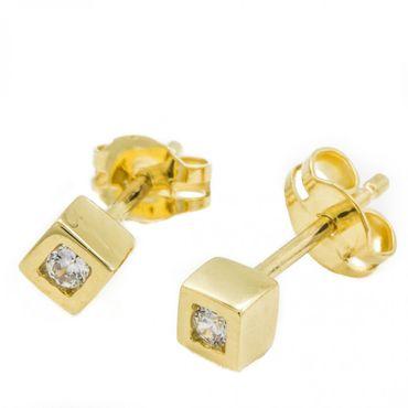 ASS 333 Gold  Ohrringe Ohrstecker Stecker Würfel 4 mm mit Zirkonia weiß – Bild 1