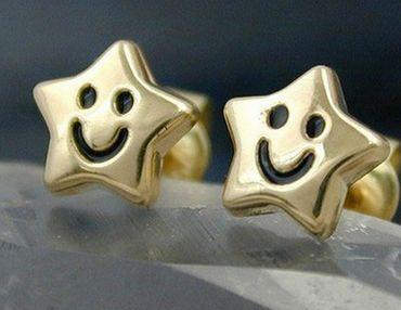 ASS 375 Gold Damen Kinder Ohrringe Ohrstecker Stern mit fröhlichem Gesicht – Bild 2