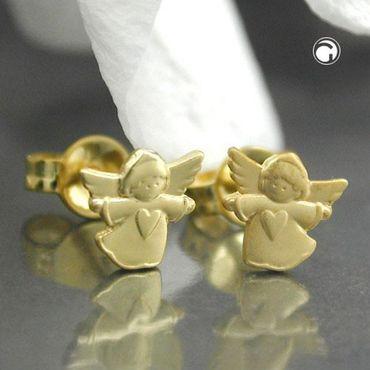 ASS 333 Gold Ohrstecker fliegender Engel mit Herz Ohrringe Schutzengel Stecker – Bild 2