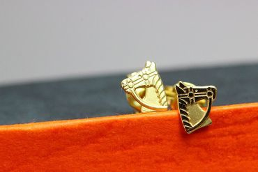 ASS 333 Gold Ohrringe Damen Kinder Ohrringe Ohrstecker Pferd, Pferdekopf Stecker,glanz,gesandelt – Bild 7