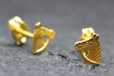 ASS 333 Gold Ohrringe Damen Kinder Ohrringe Ohrstecker Pferd, Pferdekopf Stecker,glanz,gesandelt – Bild 3