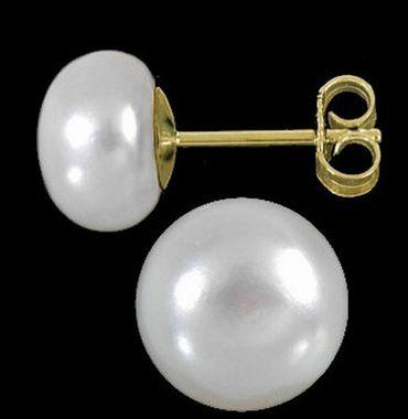 ASS 333 Gold Ohrringe Ohrstecker Stecker mit Perlen 9mm-9,5mm Süßwasserperle Bouton – Bild 2