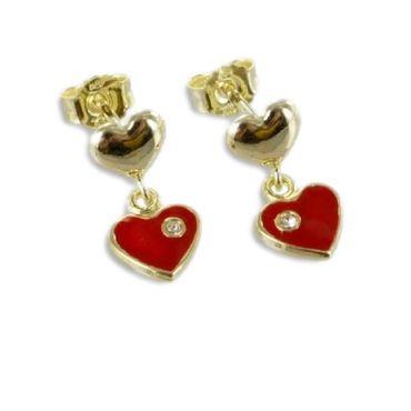 ASS 333 Gold Damen Kindern Ohrringe Ohrstecker Herzen mit Kristall – Bild 2