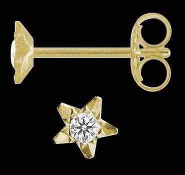 ASS 333 Gold Ohrringe Damen  Ohrringe Ohrstecker Stern mit Zirkonia diamantiert – Bild 2
