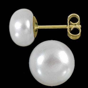 ASS 585 Gold Ohrringe Ohrstecker Stecker mit Perlen 8mm-8,5mm Süßwasserperle Bouton – Bild 2