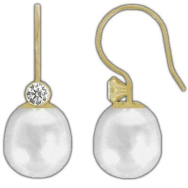 ASS 585 Gold Paar Ohrringe Ohrhaken Gelbgold SWZP Perlen Tropfen 9-9,5 mm mit Zirkonia