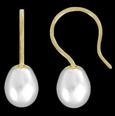 ASS 585 Gold Paar Ohrringe Ohrhaken Gelbgold Tropfen mit Perle SWZP 7-7,5 mm – Bild 2