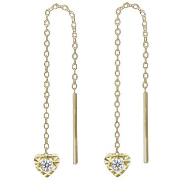 ASS 333 Gold Damen Durchzieher/Ohrringe Ankerkette mit Herz Zirkonia weiß – Bild 2