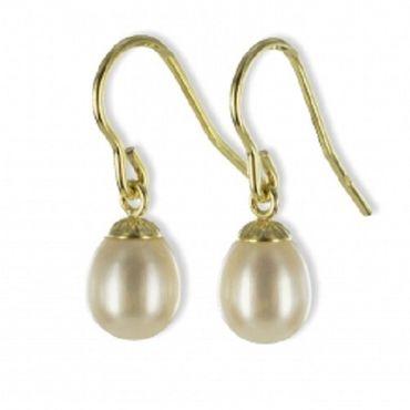 ASS 333 Gold Damen Perlen weiß Ohrringe Ohrhänger Ohrhaken SWZP in Tropfenform