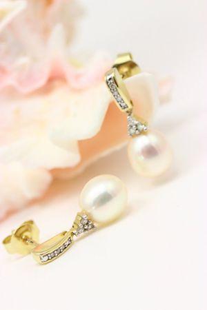 ASS 333 Gold Paar Ohrstecker Stecker Perle mit 16 Brillanten Diamanten 0,08ct, Gelbgold – Bild 4
