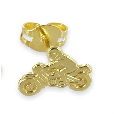 ASS 333 Gold Einzel Männer Herren Ohrstecker Motorrad mit Motorradfahrer