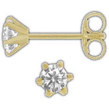 ASS 750 Gold Paar Ohrstecker 6 Stotzen Gelbgold,diamantiert ,3,5mm mit gefassten Zirkonien – Bild 1