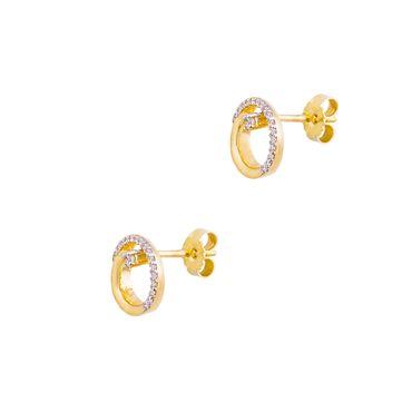 ASS 333 Gold Damen Mädchen Ohrstecker 2-farbig , rundform 9,5 mm Ohrringe rhodiniert,  mit vielen Zirkonia – Bild 3