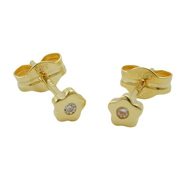 ASS 333 Gold Damen Kinder Ohrringe Ohrstecker Blume mit Zirkonia 6 mm matt – Bild 1